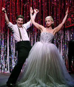 Marcus Stevens and Jenny Lee Stern in <i>Forbidden Broadway: Alive and Kicking!</i>