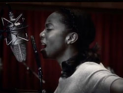 "Heather Headley in the studio singing ""I Will Always Love You"" from <i>The Bodyguard: The Musical</i>"