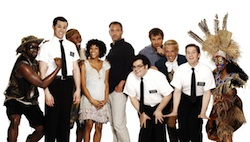 Trey Parker and Matt Stone with members of the original Broadway cast of <i>The Book of Mormon</i>