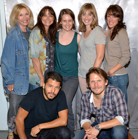 The <i>A Summer Day</i> family: Pamela Shaw, Karen Allen, translator/director Sarah Cameron Sunde, Maren Bush, Samantha Soule, Carlo Alban (kneeling), and McCaleb Burnett (kneeling).
