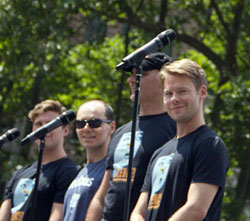 Randy Harrison (right) performing with cast members from <i>Silence! The Musical</i> at Broadway in Bryant Park