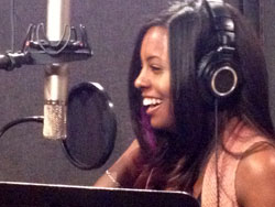 "Adrienne Warren recording ""Kickin',"" which will be the opening song for the Macy's Thanksgiving Day Parade."