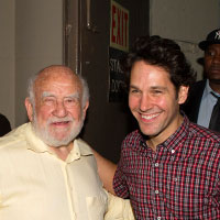 Ed Asner and Paui Rudd at the stage door of the Cort Theatre