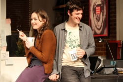 Virginia Kull and Michael Esper in the stage version of <i>Assistance</i> at Playwrights Horizons