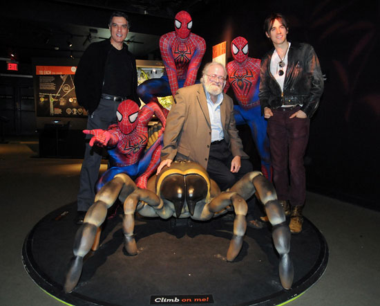 "Robert Cuccioli, Norman Platnik, Reeve Carney and multiple Spider-Men take in the ""Spiders Alive!"" exhibit at the American Museum of Natural History"