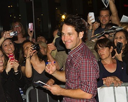 Paul Rudd greets fans at the stage door after a recent performance of <i>Grace</i> on Broadway.