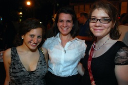 The education department interns: Melanie Harrison, Elyse Brown, and Emily Anne Gibson at the opening night party for <i>The Comedy of Errors</i>