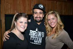 Ryann Redmond, Lin-Manuel Miranda, and Taylor Loudermann at the CD release party for <I>Bring It On! The Musical</i>