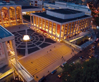 An aerial view of the Lincoln Center complex