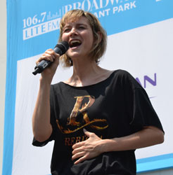 <i>Rebecca</i> star Jill Paice performs a song from the musical at Broadway in Bryant Park