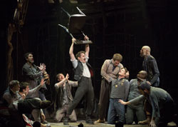 Matthew Saldivar (center) and company in <i>Peter and the Starcatcher</i>