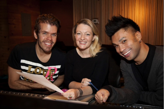 Perez Hilton with executive producer and songwriter Lynn Pinto and recording engineer Andros Rodriguez