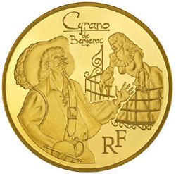 The Monnaie de Paris gold coin featuring Cyrano de Bergerac