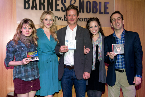 Members of the 2012 <i>Encores!</i> family: Celia Keenan-Bolger, Betsy Wolfe, Will Chase, Laura Osnes, and musical director Rob Berman.