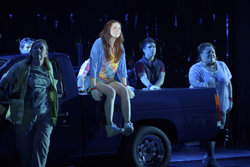 Allison Case and the cast of La Jolla Playhouse's production of <i>Hands on a Hardbody</i>