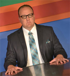 Kevin Covert as J.B. Biggley in Florida State's production of <i>How to Succeed in Business Without Really Trying</i>