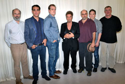 The men of <i>Glengarry Glen Ross</i>: director Daniel Sullivan, Bobby Cannavale, David Harbour, Al Pacino, Richard Schiff, Jeremy Shamos, and John C. McGinley
