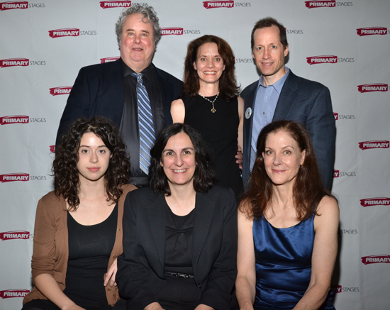 The <i>Him</i> family: Adam LeFevre, Daisy Foote, Tim Hopper (standing); Adina Verson, Evan Yionoulis, and Hallie Foote (seated)