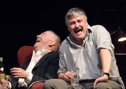 Jim Norton and Conleth Hill in a scene of drunken revelry from <i>The Seafarer</i>.