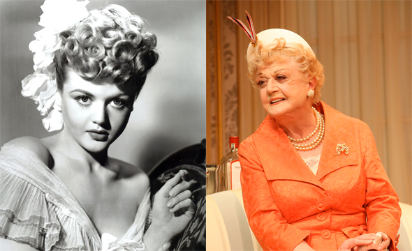 Left: Angela Lansbury in a publicity still for the 1944 film <i>Gaslight</i>. Right: Angela Lansbury in a scene from the 2012 Broadway production of <i>Gore Vidal's The Best Man</i>.