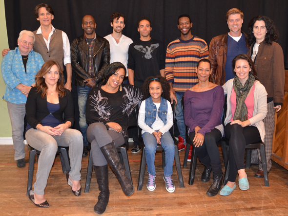 Standing from left: playwright Paula Vogel, Bob Stillman, K. Todd Freeman, Chris Henry, Jonathan-David, Antwayn Hopper, Sean Allan Krill, director Tina Landau; Seated from left: Alice Ripley, De'Adre Aziza, Sumaya Bouhbal, Karen Kandel, and Rachel Spencer Hewitt.