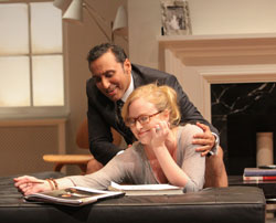 Aasif Mandvi and Heidi Armbruster in <i>Disgraced</i>.