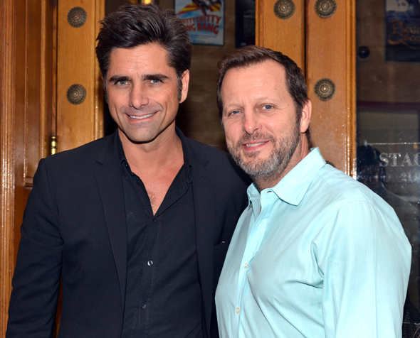 John Stamos and director Rob Ashford stopped for a quick photo right before the reading outside the Foxwoods Theatre.