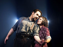Imelda Staunton (right) beat &lt;i&gt;Sweeney Todd&lt;/i&gt; costar Michael Ball for the Best Performance in A Musical Award.