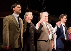 Finn Wittrock, Linda Emond, Philip Seymour Hoffman, and Andrew Garfield take their opening night bow in <i>Death of a Salesman</i>.