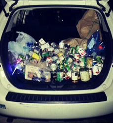 Our trunk full of canned goods