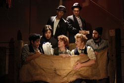Curtis Gillen, Dan Weschler, Arya Shahi, Ryan Melia, Alex Falberg, Matt Nuernberger, and Ben Ferguson in <i>The Old Man And The Old Moon</i>