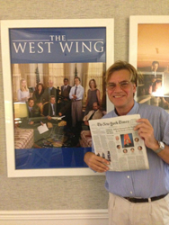 "Aaron Sorkin Tweeted this photo as a way of identifying himself as he demanded the release of Alexandra Silber's ""The West Wing Song,"" from its captor, Richard Schiff."