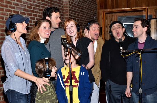 <i>Chaplin</i> principals (from left) Jenn Colella, Zachary Unger, Christiane Noll, Wayne Alan Wilcox, Ethan Khusidman, Erin Mackey, Jim Borstelmann, Michael McCormick, and Rob McClure gather around the mics at MSR Studios.
