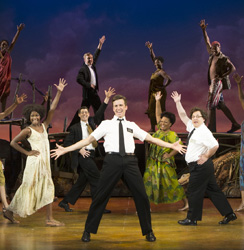 Gavin Creel (center) and Jared Gertner (right) will lead the London production of <i>The Book of Mormon</i>.