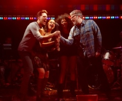 Will Swenson, Karen Olivo, Rebecca Naomi Jones, and John Ellison Conlee in <i>Murder Ballad</i>