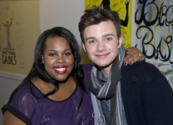 Amber Riley and Chris Colfer, who play Mercedes Jones and Kurt Hummel on the hit Fox series <i>Glee</i>, get close for a photo backstage at New York City Center.