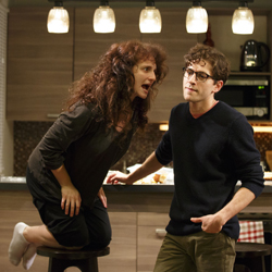 Tracee Chimo and Michael Zegen duke it out in Joshua Harmon's <i>Bad Jews</i>.