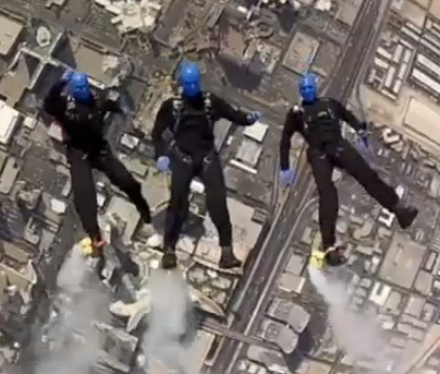 The Blue Man Group skydiving in a James Bond spoof.