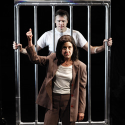 Brent Barrett and Jenn Harris in the original Off Broadway cast of <I>Silence!</I>