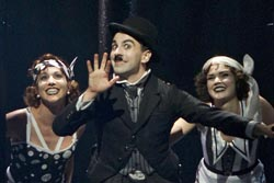 Rob McClure as Charlie Chaplin, with Lisa Gajda and Emily Tyra