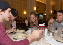 <i>Bad Jews</i> cast member Michael Zegen shares his feelings on the Edison's matzo ball soup as his colleagues Tracee Chimo, Molly Ranson, and Joshua Harmon look on.
