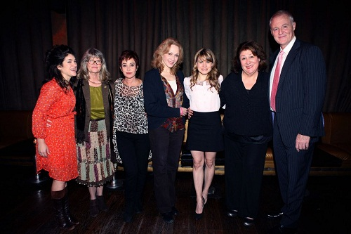 The cast of a special 25th anniversary stage reading of <i>Steel Magnolias</i>, backstage with the playwright, Robert Harling.