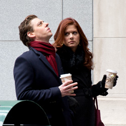 Christian Borle and Debra Messing on the set of <I>Smash</I>.