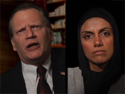 Don Bender and Fawzia Mirza play Charles Baker and Ayesha Khan in <I>Mosque Alert</I>.