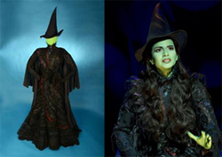 Susan Hilferty's Elphaba costume alongside Mandy Gonzalez in <i>Wicked</i>