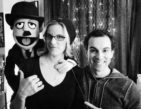 Jenn Colella and Rob McClure show off puppet Charlie Chaplin (created by Rob's <i>Avenue Q</i> pal, Rick Lyon) backstage at the Ethel Barrymore Theatre.