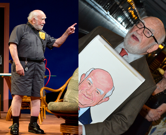 Ed Asner in <i>Grace</i>, and with his brand new Sardi's caricature