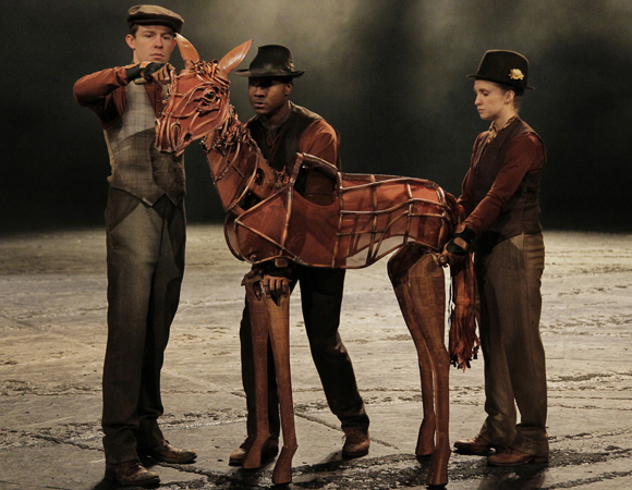 Hunter Canning, David Pegram, and Hannah Sloat operate Joey as a foal in <i>War Horse</i>.