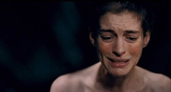 Anne Hathaway sings live as Fantine in the film adaptation of <i>Les Misérables</i>.