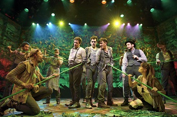 David Rossmer, Adam Chanler-Berat, Carson Elrod, and the cast of <i>Peter and the Starcatcher</i>.